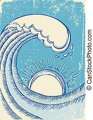 grunge, wave., ilustração, vetorial, mar, abstratos