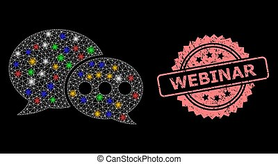 Grunge Webinar Stamp and Network Forum Messages with Glitter Dots