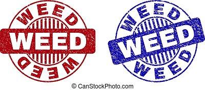 Grunge WEED Scratched Round Stamp Seals