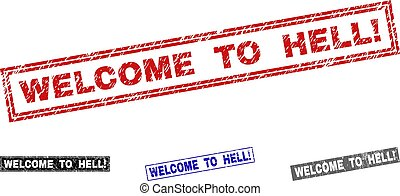 Grunge WELCOME TO HELL! Scratched Rectangle Stamp Seals