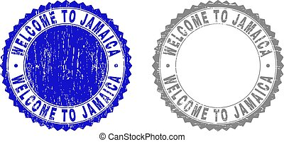 Grunge WELCOME TO JAMAICA Scratched Stamps