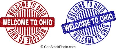 Grunge WELCOME TO OHIO Textured Round Stamps