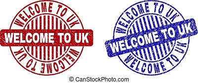 Grunge WELCOME TO UK Scratched Round Stamps