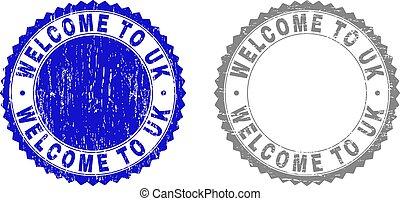 Grunge WELCOME TO UK Textured Stamp Seals