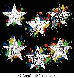 Grunge white stars on colored splashes over black background