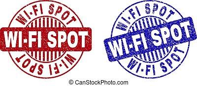 Grunge WI-FI SPOT Textured Round Stamp Seals