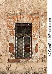 Grunge window of old industrial building