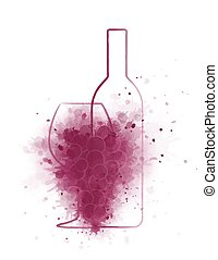 grunge wine bottle with glass and grapes