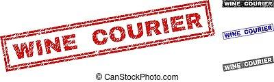 Grunge WINE COURIER Textured Rectangle Stamp Seals
