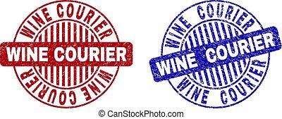Grunge WINE COURIER Textured Round Stamps