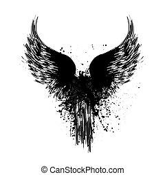 Grunge wings silhouette