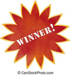 Grunge Winner! Burst - A red and orange colorful star burst...