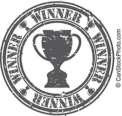 Grunge winner rubber stamp, vector