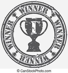 Grunge winner rubber stamp, vector