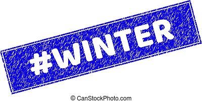 Grunge #WINTER Textured Rectangle Stamp Seal