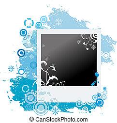 Grunge winter vector polaroid