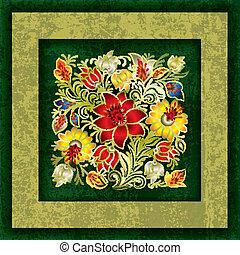 grunge, wiosna, abstrakcyjny, ozdoba, tło, kwiatowy