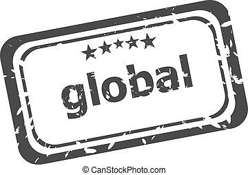 grunge, witte , globaal, vrijstaand, postzegel, woord