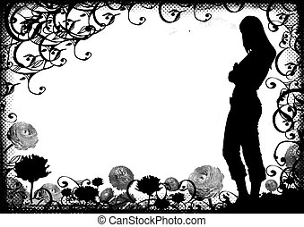 Grunge woman shape on daisy and scrolls background