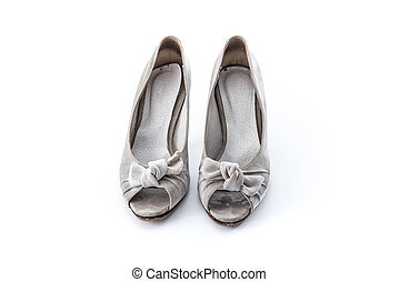 grunge women shoes on whit background