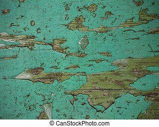 Grunge wood background with old green peeling paint