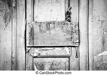 Grunge wood panel on antique door