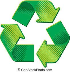grunge, woodcut, simbolo, riciclaggio, vettore, ombreggiatura
