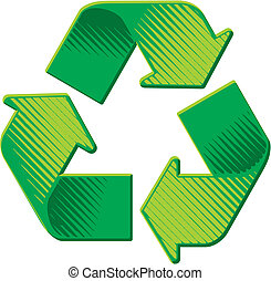 grunge, woodcut, symbole, recyclage, vecteur, ombrager