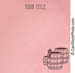 Grunge  wooden barrels of wine. Red vector background