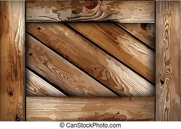Grunge wooden box background. Vector