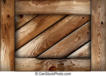 Grunge wooden box background. Vector
