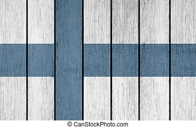 Grunge Wooden Flag Of Finland