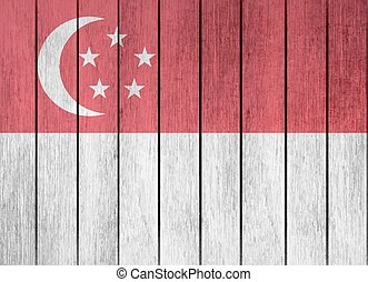 Wooden Flag Of Singapore