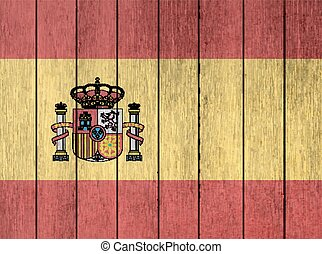 Wooden Flag Of Spain