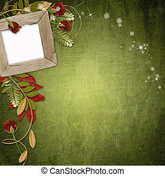 grunge wooden frames on the abstract green background