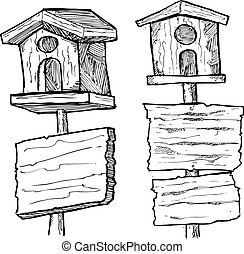 grunge wooden plank with bird house