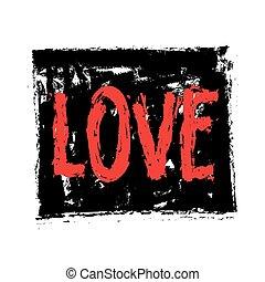 grunge word love background, vector icon