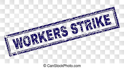 Grunge WORKERS STRIKE Rectangle Stamp