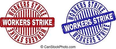 Grunge WORKERS STRIKE Textured Round Stamps