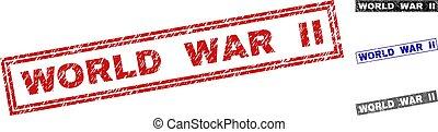 Grunge WORLD WAR II Textured Rectangle Watermarks