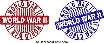 Grunge WORLD WAR II Textured Round Stamps