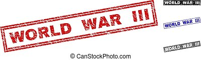 Grunge WORLD WAR III Scratched Rectangle Watermarks