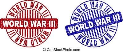 Grunge WORLD WAR III Textured Round Watermarks