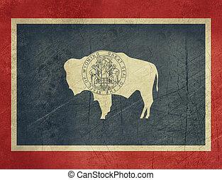 Grunge Wyoming state flag of America