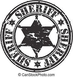 grunge, xerife, estrela, vetorial