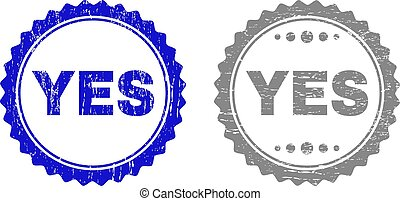 Grunge YES Scratched Stamp Seals