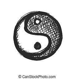 grunge Yin yang symbol - black vector icon
