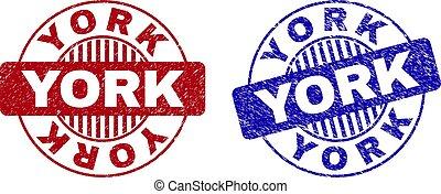 Grunge YORK Textured Round Watermarks