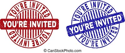Grunge YOU'RE INVITED Textured Round Stamps
