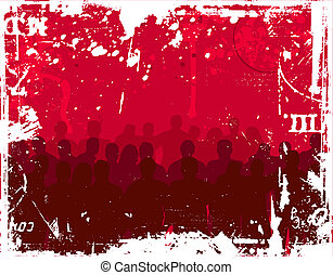 Grunge youth - Group of young people on grunge background